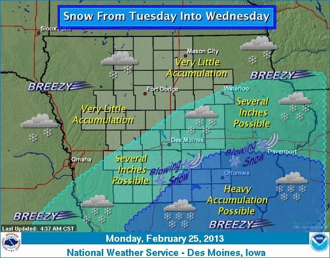 Forecast graphic from the National Weather Service in Des Moines (2/25 ...