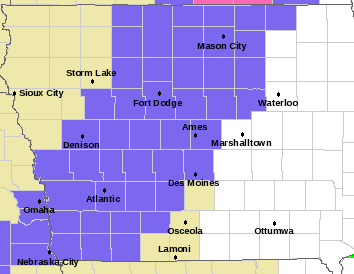 Winter Weather Advisory/Snowfall Coverage Map (NWS/Des Moines)
