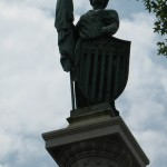 Lady Liberty sits atop the Soldier's Memorial.