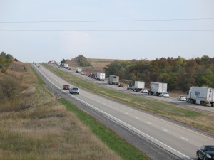 Traffic backed up on I-80 eastbound about 1 mile east of the accident scene. (Ric Hanson/photo)