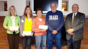 Nonprofit representatives receiving grant awards: 1st row from left to right:  Jenny Smith, Audubon Recreation Foundation; Genelle Deist, Friendship Home Foundation; Donna and Jim Johnson, Exira Park Committee; and Thomas R. Nielsen, Secretary/Treasurer, Audubon County Community Foundation.