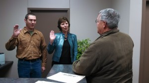 Erin McFadden (left) and Charlene Beane (Center) are sworn-in by Atlantic Mayor Dave Jones.