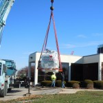 Workers at Cass County Memorial Hospital moved the new MRI (magnetic resonance imaging) magnet into the in-house MRI suite Nov. 18th.