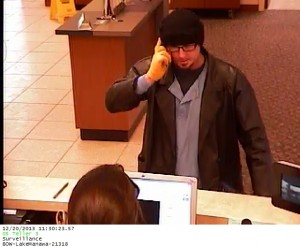Bank robbery suspect. (Photo from surveillance camera, courtesy Council Bluffs P-D)