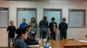 Atlantic Middle School students report to the School Board Mon. night on their Mock Trial experience.