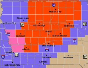 Areas in red are under a Blizzard Warning; Pink counties are under a Winter Storm Warning; purple counties are under a Winter Weather Advisory today (2/20)