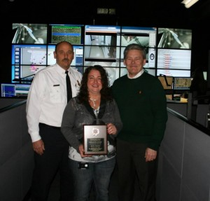 (from left to right) Council Bluffs Interim Fire Chief Larry Wohlers - Becky Francis - Sheriff Jeff Danker. (Pott. Co. S/O photo)