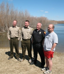 (Left-to-right) Cass County Sheriff Darby McLaren, Dep. Ryan Johnson, Atlantic Police Chief Steve Green & Councilman Chris Jimerson.