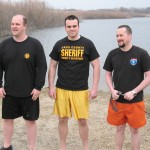 Cass County Deputies McLaren, Shields and Quist get ready to take the plunge.