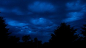 Storm clouds form waves near the KJAN studios at around 9-p.m., Friday. (Ric Hanson photo)