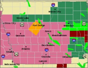 Counties in lavender are under a Severe Thunderstorm Watch until Noon today.