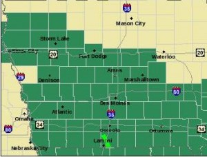 Counties in green are under or will be under a Flash Flood Watch
