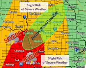 "Areas in red are under a ""Moderate"" risk of severe weather tonight, areas in yellow will experience a ""Slight"" risk for severe weather. (NWS graphic)"