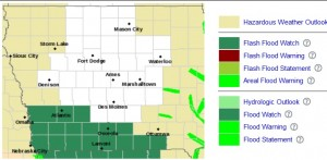 Counties in dark green are under a Flash Flood Watch.