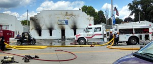 Evidence of the damage caused by the fire at SW IA Tiling in Griswold.