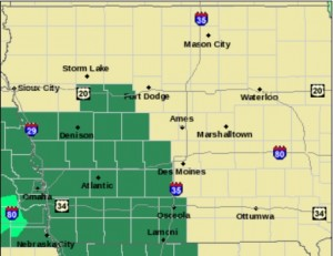 Flash Flood Watch for counties shown in green.