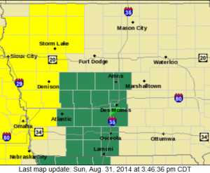 Flash Flood Watch (Counties in green); Tornado Watch (Counties in yellow)