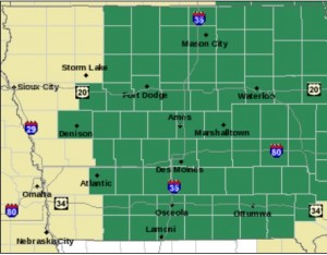 Counties shown in green are included in the Flash Flood Watch. (9/9-10)