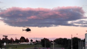 A medical chopper arrives at CCMH to transport an accident victim Friday to Omaha, evening.