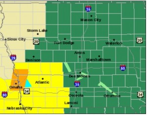 Tornado Watch (Counties in Yellow)