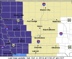 Freeze Warning for counties in purple until 8am today (10/4)