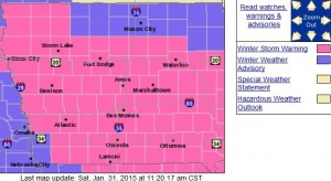Counties in pink are in a Winter Storm Warning. Purple indicates Winter Weather Advisory.
