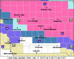 Winter Weather Advisory & Watch graphic (NWS/Des Moines). For more see www.crh.noaa.gov/dmx/