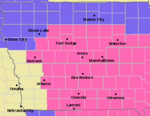Counties in pink have a Winter Storm Warning in effect from 7-pm 1/31-thru 9-p.m. 2/1/15