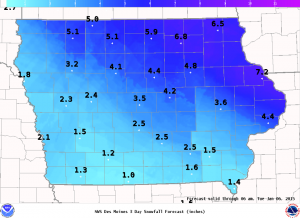 Expected snowfall totals thru 6-a.m. Tue., 1/6/15