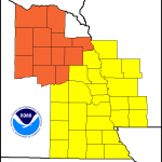 Counties in orange (Nebraska) have  a Very High Fire Danger index. Those in yellow have a High Danger index.