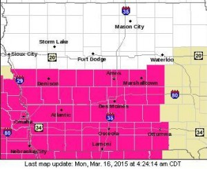 Red Flag Warning (Counties in pink)
