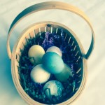 Have fun coloring Easter eggs with natural dyes such as grape, raspberry or beet juice. Or boil cumin or spinach. The blue egg in the basket is from boiled red cabbage. Search on line for specific instructions.