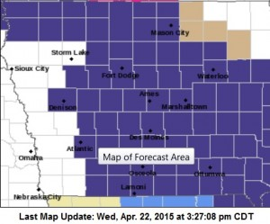 Freeze Warning for Counties in purple