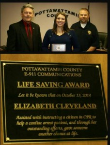 Pott Co. Communications Operator Elizabeth Cleveland (Center) (Photo from the Pott. Co. Sheriff's Office Facebook page)