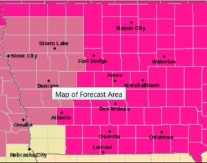 Counties in mauve are included in the Severe Thunderstorm Watch until 1-am Thu.