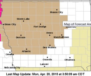 Wind Advisory for counties shaded in tan.
