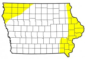 "Areas in yellow are experiencing ""Abnormally Dry"" conditions. Areas in white are considered to have ""Normal"" soil conditions as of April 21st."