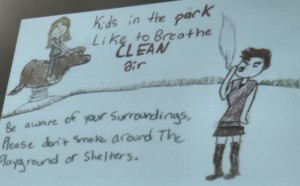 Draft of proposed Clean Air/No smoking sign proposed by the local GS Troop