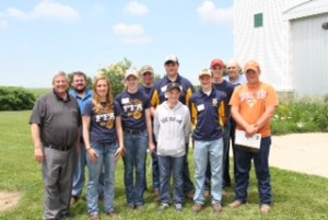 Front Row Left to right: Secretary Of Agriculture Bill Northey, Haley Carlson, Emily Saeugling, Braden Bean, Cale Pellett, Kyle Redinbaugh Back Row:  Eric Miller, Adam Freund, Garrett Schwanke, Clayton Saeugling, Representative Jack Drake