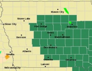 Counties in green are included in a Flash Flood Watch