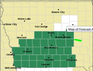 Counties in green are included in a Flash Flood  Watch.