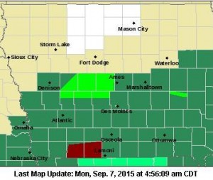Counties in dark green are under a Flash Flood Watch; Light green: Flood Warning; Counties in dark red: Flash Flood Warning.