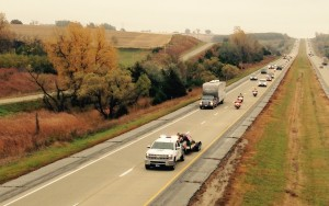 An Iowa State Patrol Trooper leads the WTC Beam convoy along I-80 in Cass County. (Photos courtesy Mike Kennon, Cass County Emergency Mgmt. Agency)