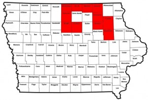 IA counties (in red) w/a ban on open burning as of 10/13/15.