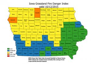 Grassland Fire Danger Index 10/12/15