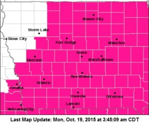 Shaded counties are under a Red Flag Warning today (10/19).