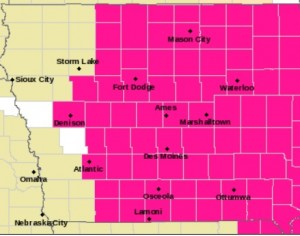 Counties shaded in pink are under a Red Flag Warning Monday