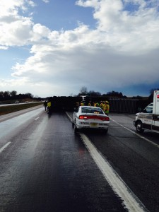 Semi blown over in Cass County (Mike Kennon/Cass County EMA)