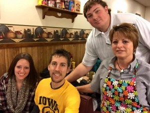 Small Business Saturday Presenting Sponsor Brown's Shoe Fit having breakfast November 28th at the Downtowner. Left to Right: Anna Johnson, Kevin Weiser, Seth Christensen, Carol Johnson.
