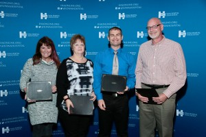 Four Cass County Health System directors were recognized at the Iowa Hospital Association's annual meeting for completing the IHA Leadership Series.  Pictured with their awards are (left to right) Amy Petersen, Barb Lytle, Ryan Legg and James Baker.